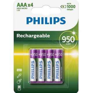 Pile rechargeable LR03 PHILIPS - R03B4A95/10