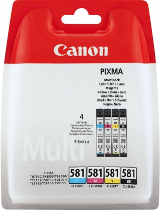 CANON - Pack cartouches d'encre MultiPack CLI-581 BK/C/M/Y