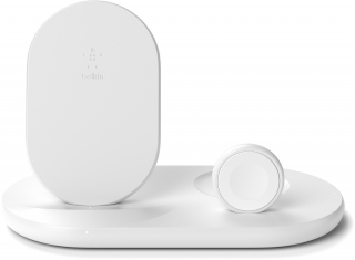 BELKIN - Chargeur induction WIZ001vfWH Double pad induction stand blanc